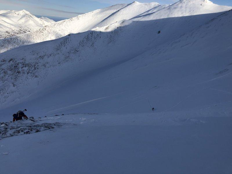 Working up the main ridge.