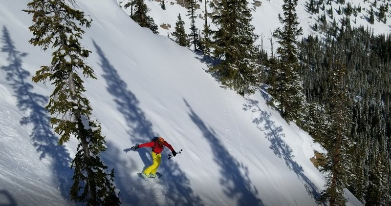 """Carl Pluim on the initial drop in, First Creek """"Chimney Chute"""""""
