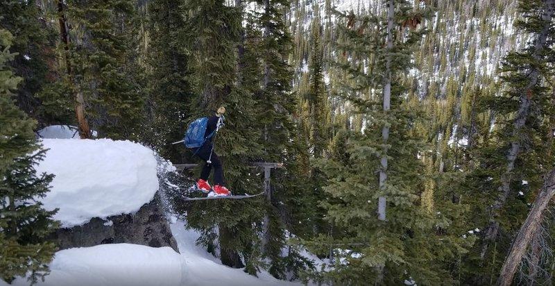 "Garrett Gillest getting air, age 14, ""Parking Lot Glades"" at First Creek on Berthoud Pass"