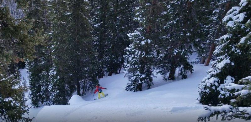 "Carl Pluim skiing ""Parking Lot Glades"" at First Creek on Berthoud Pass"