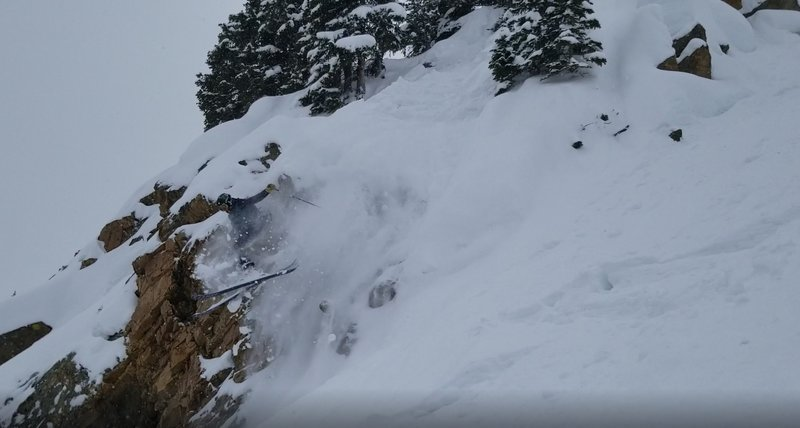 "Garrett Gillest dropping in below the ""Rush Chute"" age 14"