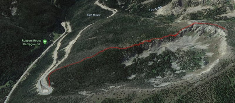 Google Earth 3D picture of the actual GPS file, this depicts the entire Zero Creek Approach