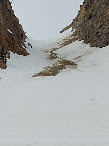 This is looking up the west couloir of the twins.  Skiing off fall-line and avoiding lots of debris was not my idea of fun, so I skied the east twin.