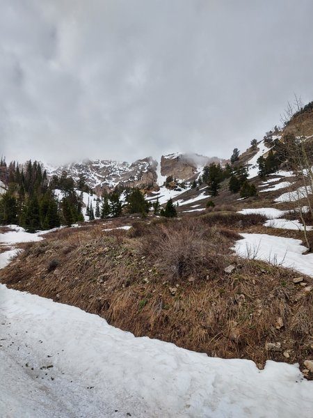 The first couloir you see on the approach is Temple Couloir.
