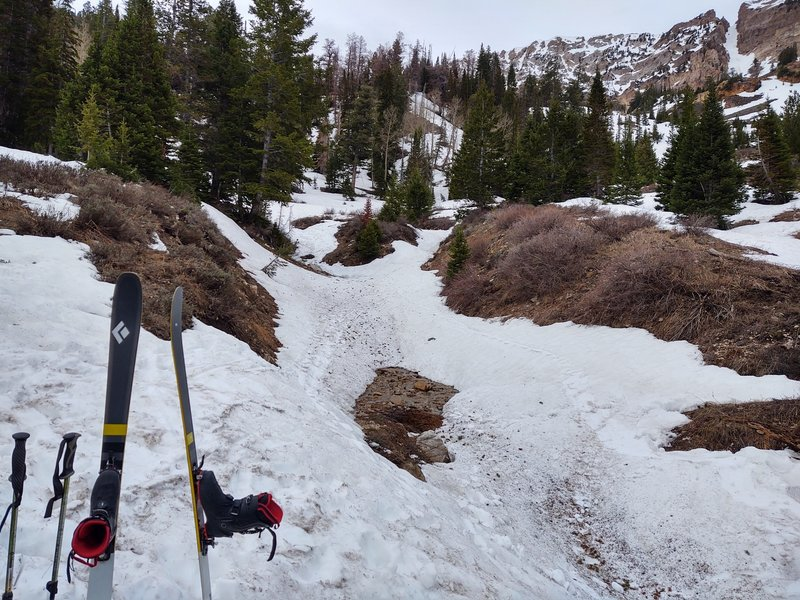 Somewhere along the approach, this is where I switched from booting to skinning.
