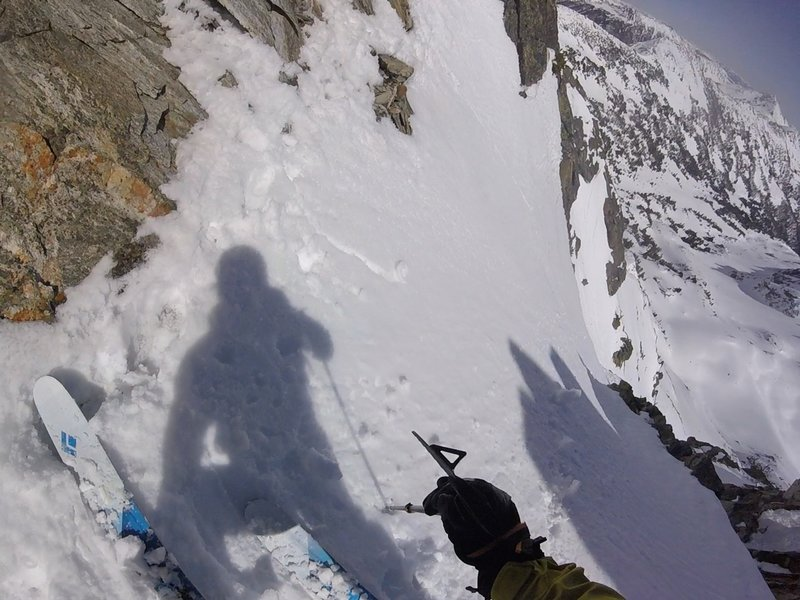 Skiing down the steeper and more challenging skiers right line on the Y Couloir, 4/21/2020