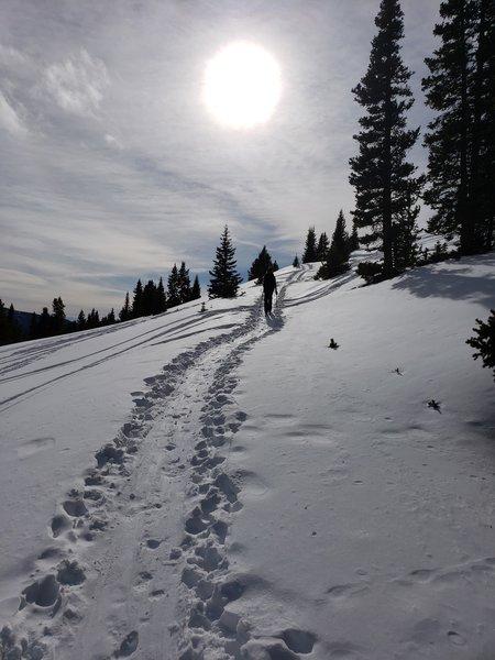 Climbing towards the old ski patrol cabin.