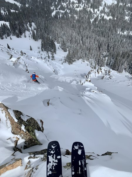 Sam, dropping into Y Chute, Center