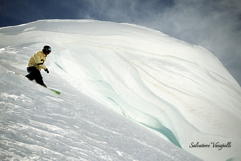 Under the cornice at Miller Mountain, Beartooth Mts, Cooke City.