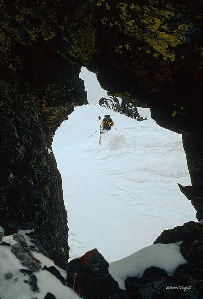 Skier jumps for joy.