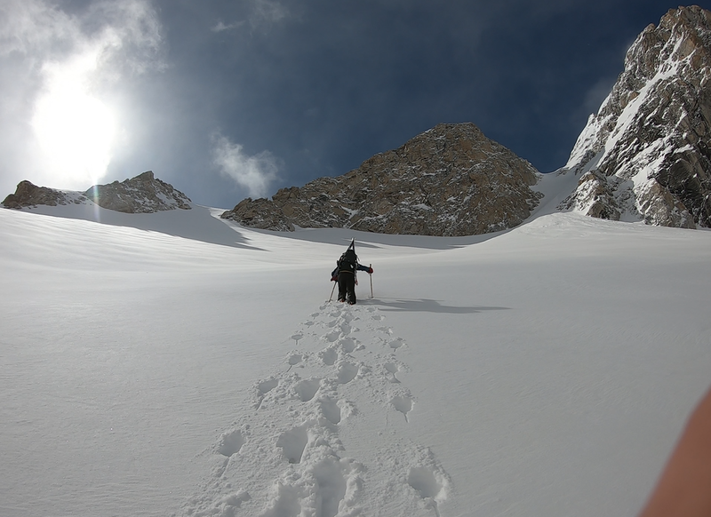 Looking up from Middle glacier- couloir is right.