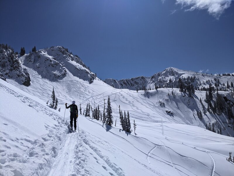 Approach from Brighton's Millicent chair into Wolverine Cirque with Stupid Chute on the left, 1000 turns on he right.