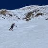 Skiing down Dragon's Egg Couloir