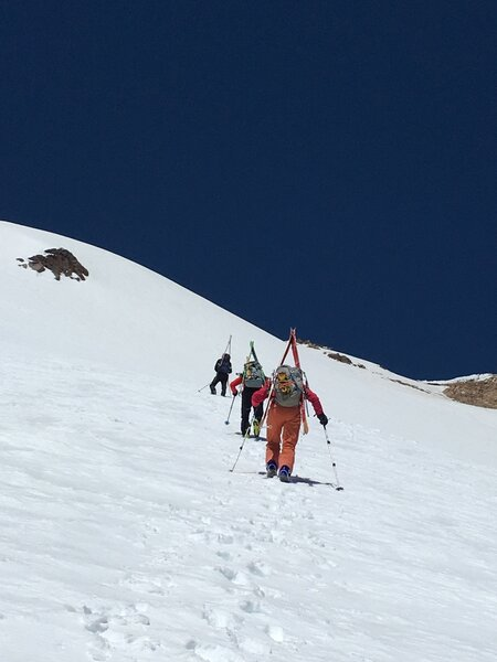 Transition to boot pack at circa 9,600. Slope angle approx. 35 degrees.