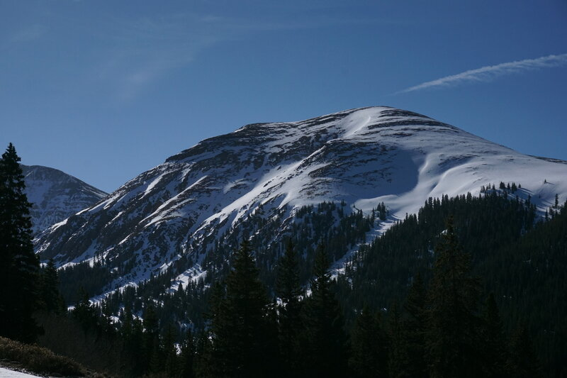 The couloir is at the center of the photo, the gully just to the right.