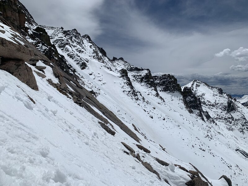 Looking at nearly the full run of the Trough Couloir in late spring conditions.