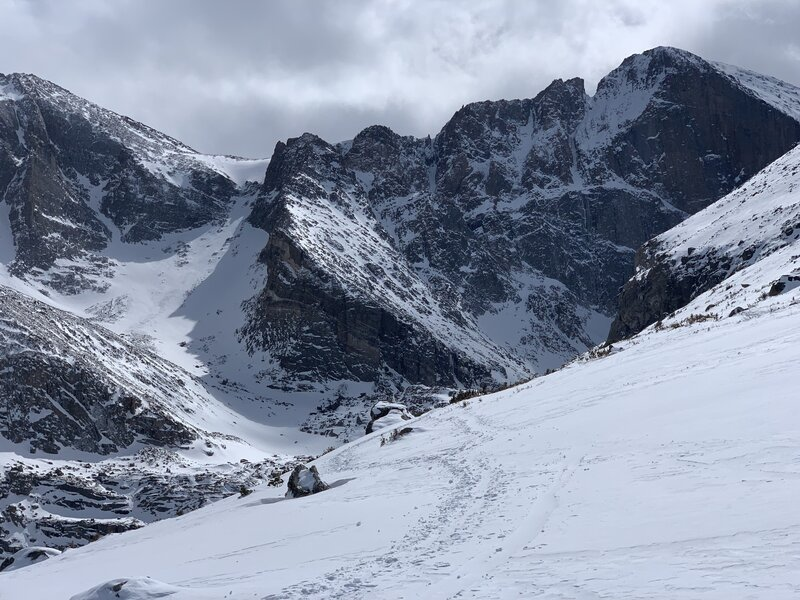 The Loft Couloir is the very obvious path up to the right. Note the cliff bands and hanging cornice above.